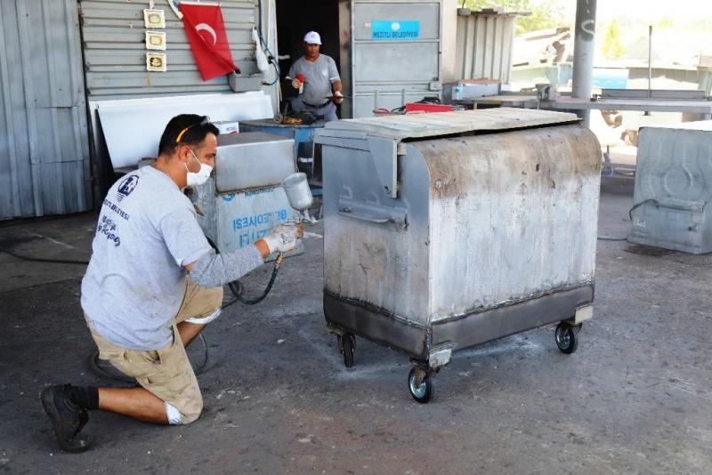 Mezitli'de çöp konteynerlerine modifiyeli sistem